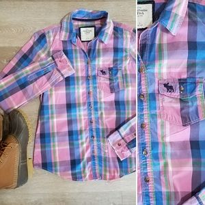 Abercrombie pink navy plaid button down